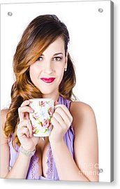 Woman With Cup Of Coffee Acrylic Print by Jorgo Photography - Wall Art Gallery