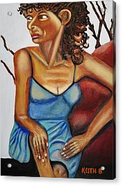 Woman With Curly Hair Acrylic Print by Keith Bagg