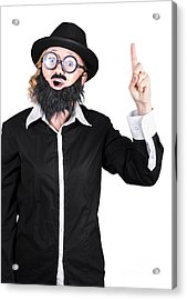 Woman With Fake Beard And Mustache Pointing Finger Up Acrylic Print by Jorgo Photography - Wall Art Gallery