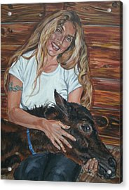 Acrylic Print featuring the painting Woman With Foal by Bryan Bustard