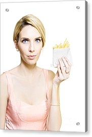 Woman With Greasy Packet Of French Fries Acrylic Print by Jorgo Photography - Wall Art Gallery