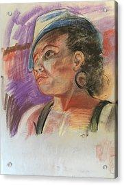 Woman With Hat Acrylic Print by Alejandro Lopez-Tasso