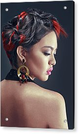 Woman With Highlighted Messy Updo With Long Side-swept Bangs Acrylic Print
