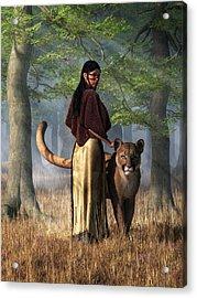 Acrylic Print featuring the digital art Woman With Mountain Lion by Daniel Eskridge