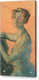 Woman With Orange Background Acrylic Print by Arthur Bowen Davies