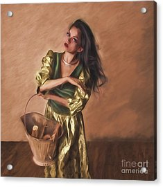 Woman With Pail  ... Acrylic Print by Chuck Caramella