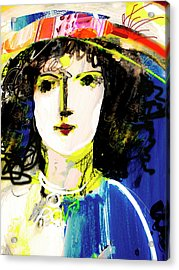 Woman With Party Hat Acrylic Print by Amara Dacer