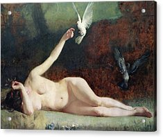 Woman With Pigeons Acrylic Print by Ernst Philippe Zacharie