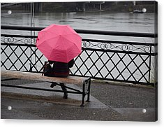 Woman With Pink Umbrella. Acrylic Print