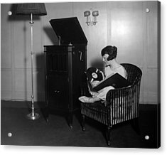Woman With Record Albums And Victrola Acrylic Print by Everett