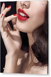 Woman With Red Lipstick Closeup Of Sensual Mouth Acrylic Print