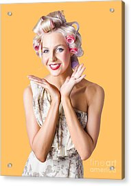 Woman With Rollers In Hair Acrylic Print