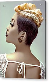 Woman With Short Blonde Curly Top Hairstyle And Braid Acrylic Print