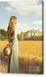 Woman With Straw Hat Acrylic Print by Amanda Elwell