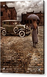 Woman With Umbrella By Vintage Car Acrylic Print by Jill Battaglia