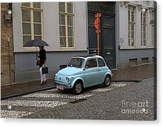 Woman With Umbrella Acrylic Print by Louise Heusinkveld
