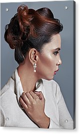 Woman With Updo In Large Curls Acrylic Print