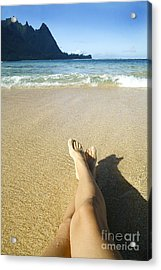 Womans Legs Relaxing Acrylic Print by Kicka Witte - Printscapes
