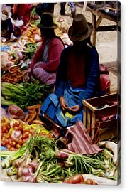 Acrylic Print featuring the painting Women At The Market by Shelley Bain