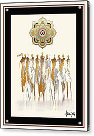 Women Chanting Mandala Acrylic Print