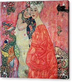 Women Friends Acrylic Print by Gustav Klimt