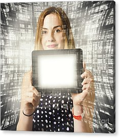 Women Holding Tablet Technology Acrylic Print by Jorgo Photography - Wall Art Gallery