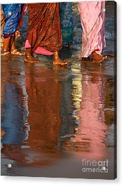 Women In Saris Acrylic Print
