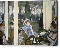 Women On A Cafe Terrace Acrylic Print by Edgar Degas