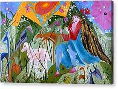 Acrylic Print featuring the painting Women Shepperd. by Sima Amid Wewetzer