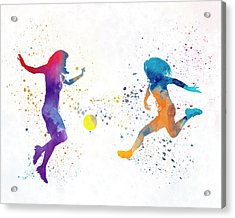 Women Soccer Players 01 In Watercolor Acrylic Print by Pablo Romero