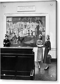 Women View Seurat Painting In Museum Acrylic Print by Horst P Horst