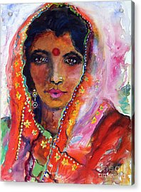 Women With Red Bindi By Ginette Acrylic Print