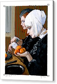 Women With Tangerines Acrylic Print by H James Hoff