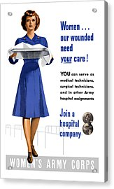 Women's Army Corps - Ww2 Acrylic Print by War Is Hell Store