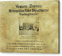 Women's Bureau House Of Detention Poster 1921 Acrylic Print by Anthony Murphy