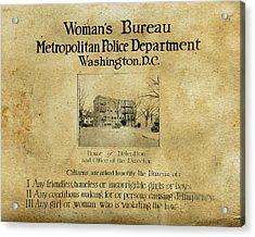 Women's Bureau House Of Detention Poster 1921 Acrylic Print by Tony Murphy