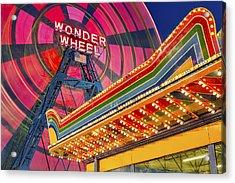 Wonder Wheel At Coney Island Acrylic Print by Susan Candelario