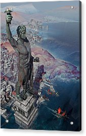 wonders the Colossus of Rhodes Acrylic Print
