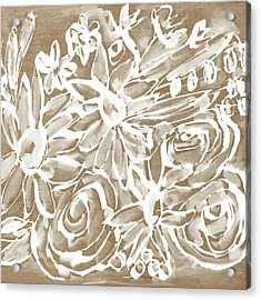 Wood And White Floral- Art By Linda Woods Acrylic Print by Linda Woods