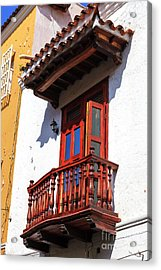 Wood Balcony In Cartagena Acrylic Print by John Rizzuto