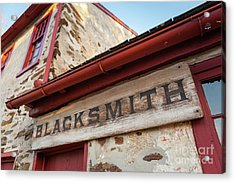 Wood Blacksmith Sign On Building Acrylic Print