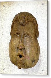 Acrylic Print featuring the photograph Wood Carved Face by Francesca Mackenney
