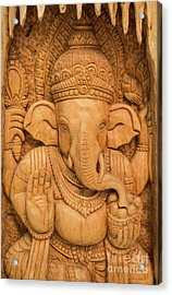 wood carving for Hindu god Ganesha on the wood. Acrylic Print by Tosporn Preede