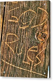 Wood Carving God Rules Acrylic Print by Connie Cooper-Edwards