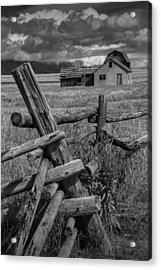 Wood Fence By The Moulton Farm On Mormon Row Acrylic Print by Randall Nyhof