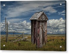Wood Outhouse Out West Acrylic Print by Randall Nyhof