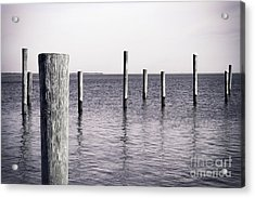 Acrylic Print featuring the photograph Wood Pilings In Monotone by Colleen Kammerer