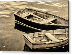Wood Rowboats Sepia Distressed Acrylic Print
