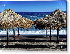 Wood Thatch Umbrellas On Black Sand Beach, Perissa Beach, In Santorini, Greece Acrylic Print