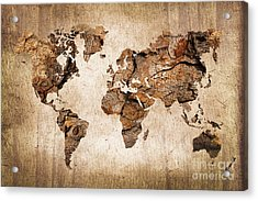 Wood World Map Acrylic Print